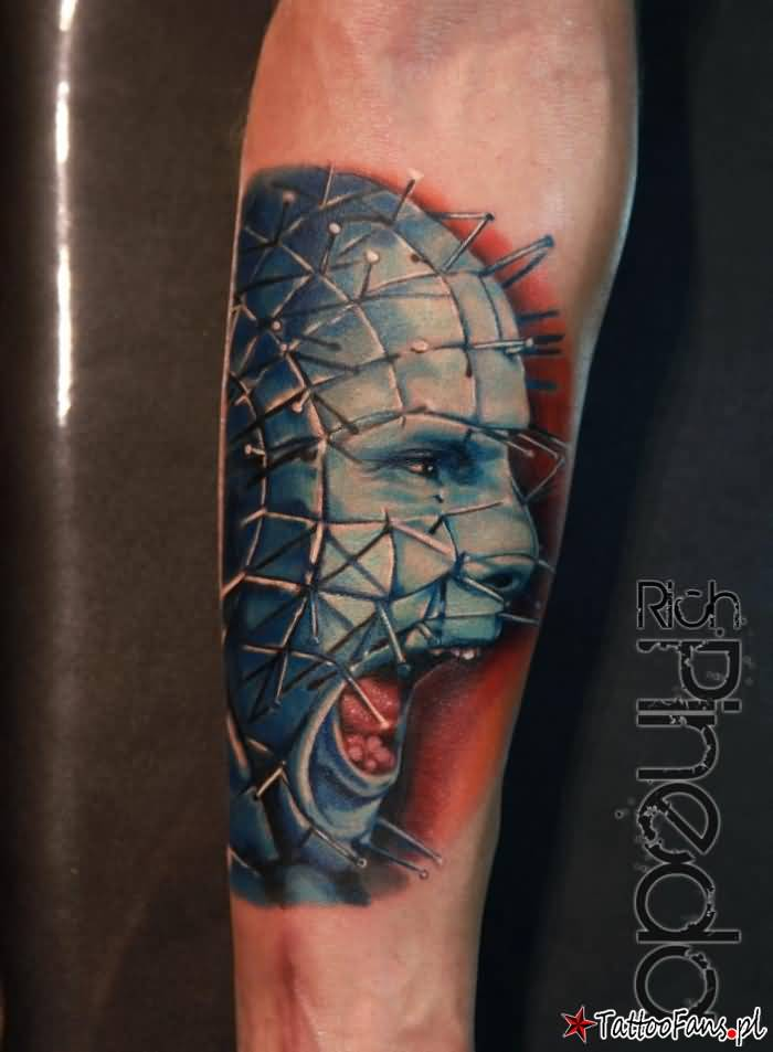 Angry Blue Ink Wonderful Pinhead Tattoo By Rich Pineda On Lower Sleeve