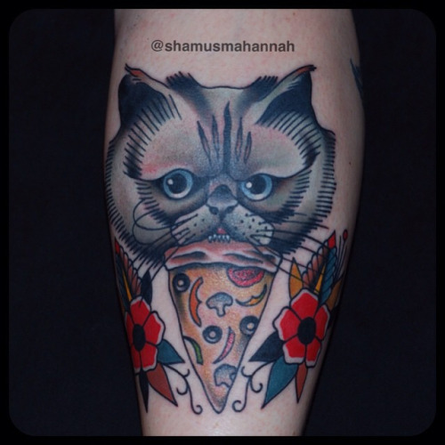 Angry Cat Face With Amazing Pizza Tattoo