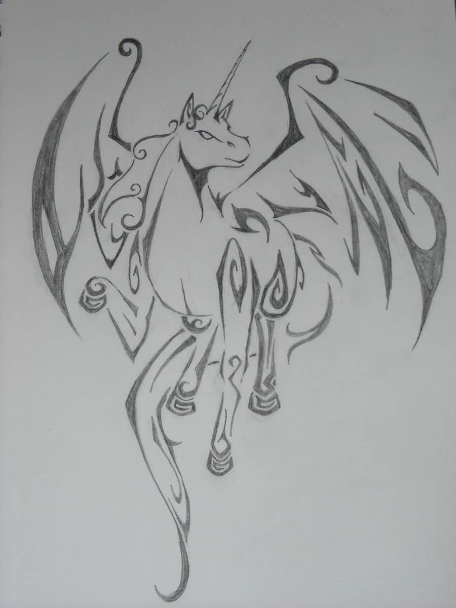 Angry Face Of Nice Pegasus Tattoo