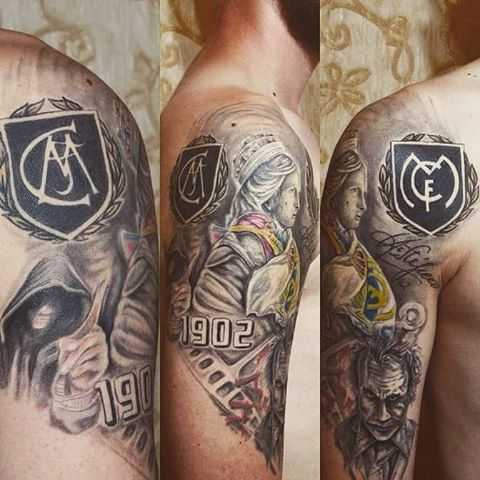 Angry Joker Face With Different Style Real Madrid Logo Tattoo