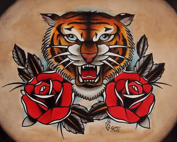 Angry Lion Face With Nice Red Roses Old School Tattoo Stencil