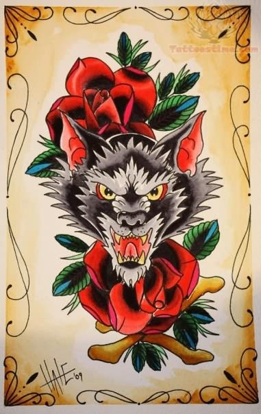 Angry Open Mouth Wolf Face With Simple Old School Roses Tattoo