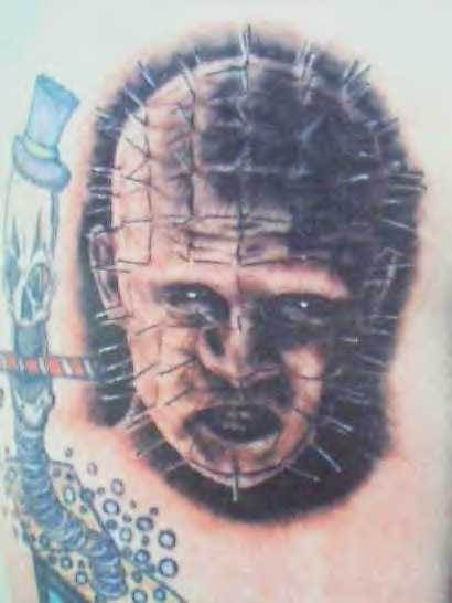 Angry Pinhead Face Tattoo Design By Grey And Black Ink