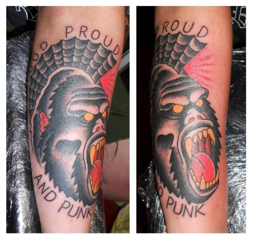 Angry Punk Monkey Face With Text Tattoo
