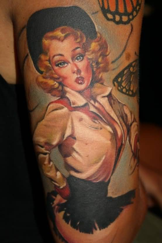 Angry Realistic Pin Up Cowgirl Face Tattoo By Laura