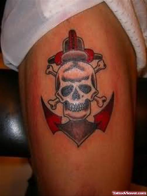 Angry Skull With Navy Anchor Side Thigh Tattoo