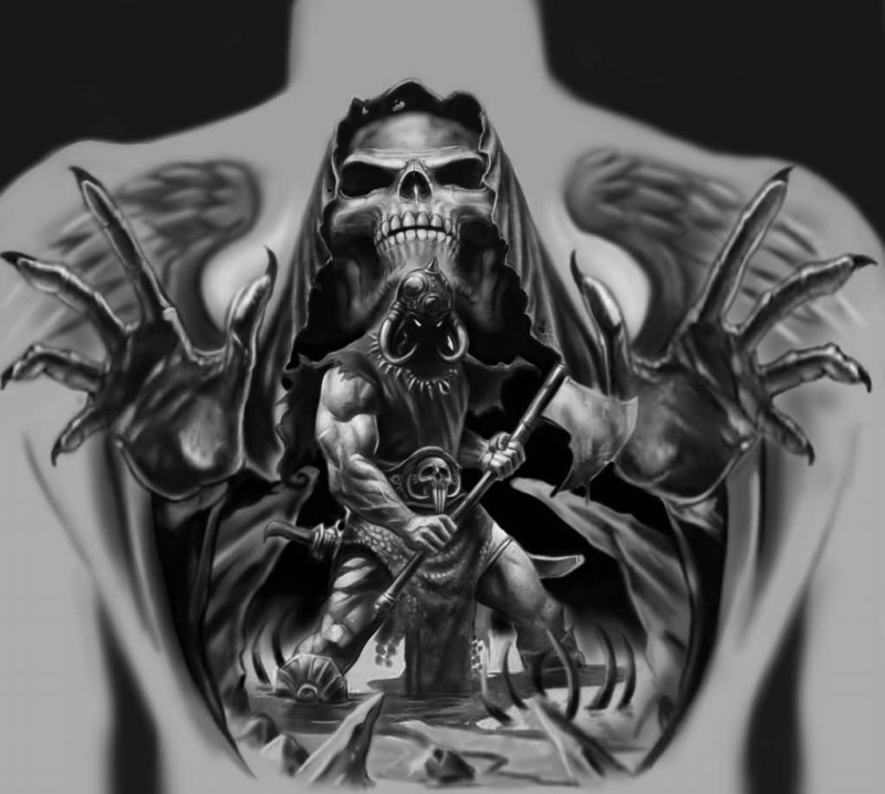 Angry Warrior Scarification Tattoo Idea On Back