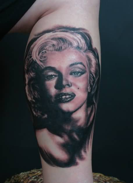 Awesome And Nice Marilyn Monroe Face Tattoo Design Idea On Leg