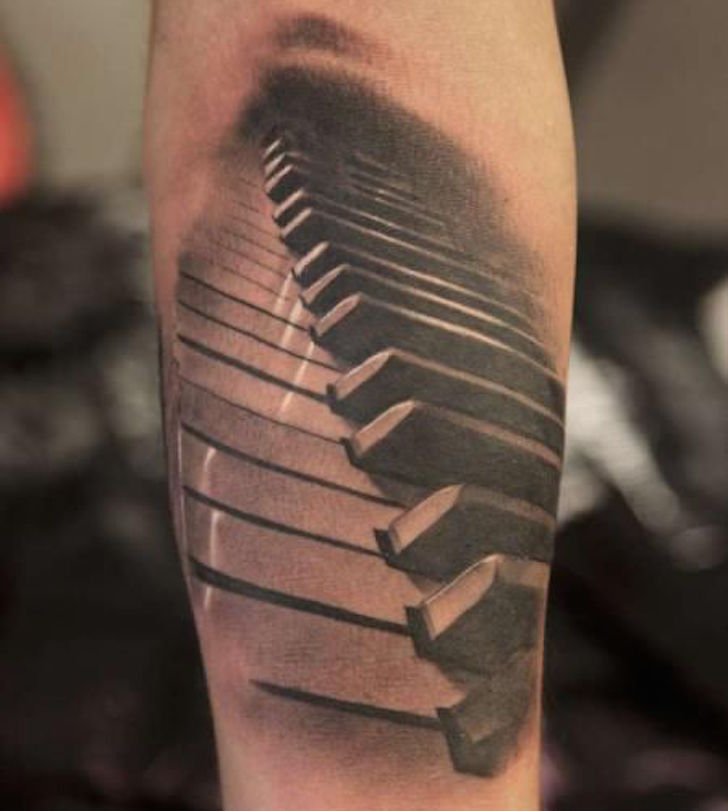Awesome And Nice One Piano Keys Tattoo Design Idea For Forearm