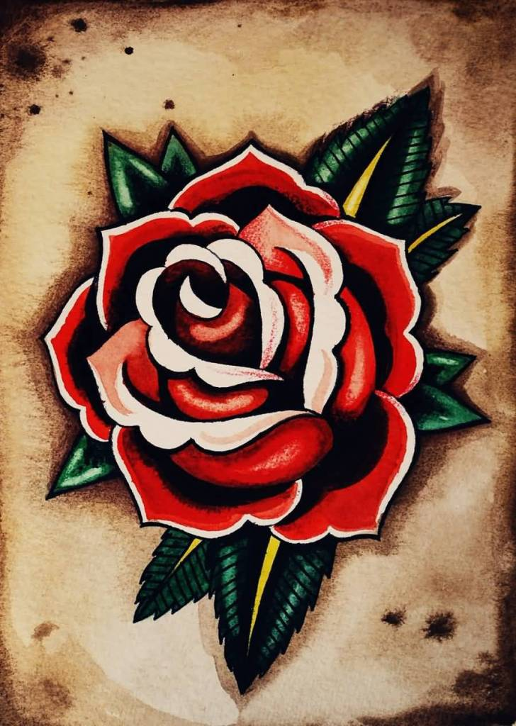 Awesome And Nice Red Rose Old School Tattoo Design