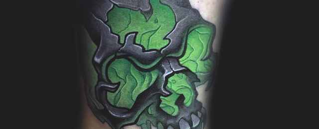 Awesome And Nice Shamrock Skull Tattoo