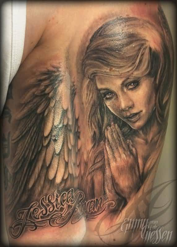 Awesome Atteactive Praying Angel Tattoo