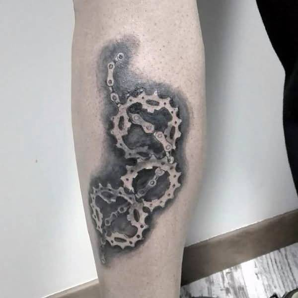Awesome Bicycle Gear Chain Tattoo On Girl Lower Forearm Sleeve
