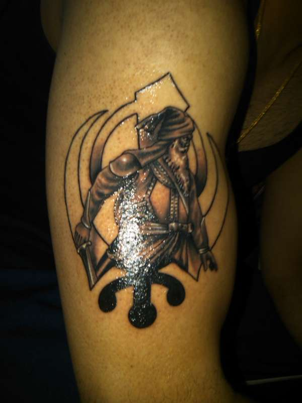 Awesome Black Ink Punjabi Baby Deep Singh Ji With Khanda Tattoo