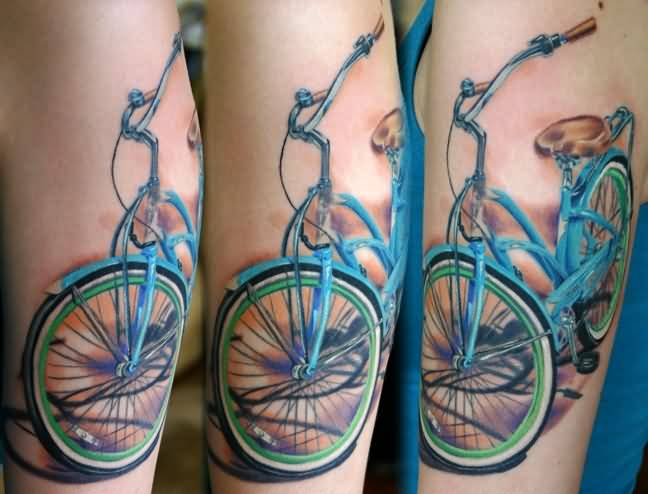 Awesome Blue Famous Bicycle Bike Tattoo Idea