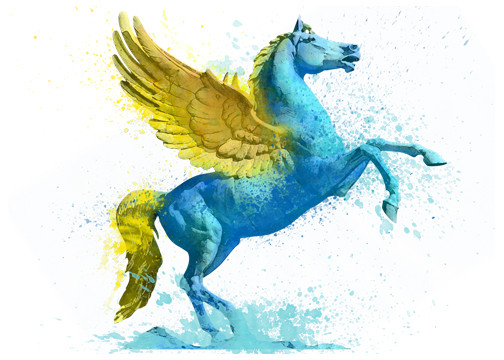 Awesome Brilliant Golden Wings Pegasus Tattoo Design Stencil