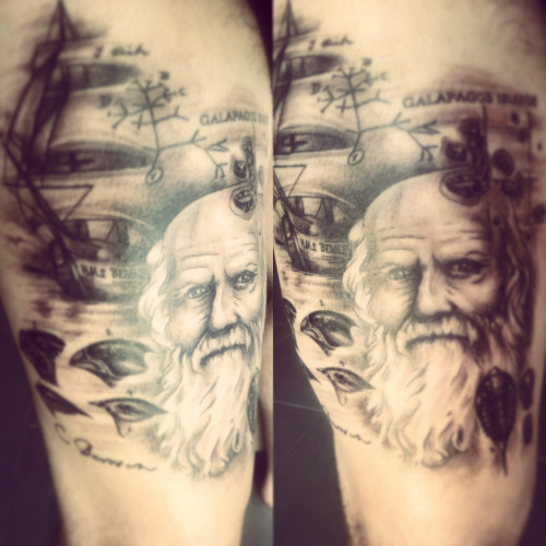 Awesome Charles Darwin Scientist Portrait Face Tattoo