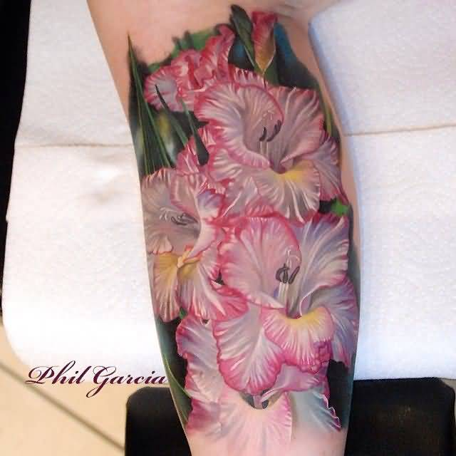Awesome Gladiolus Flower Tattoo Design Idea Made By Ink