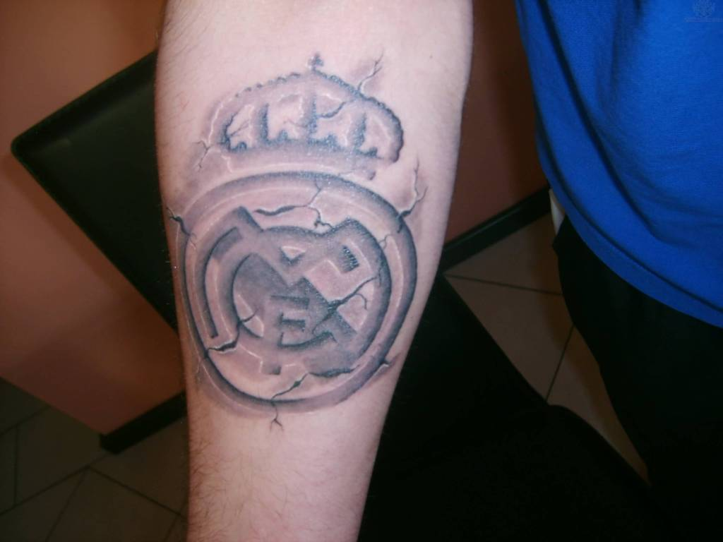 Awesome Lower Sleeve Real Madrid Tattoo Of Nice Logo