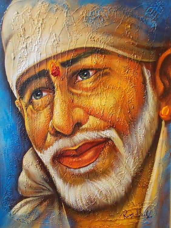 Awesome Portrait Face Of Sail Baba Tattoo Idea