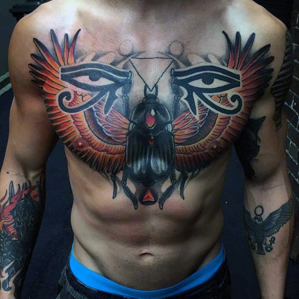 Awesome Scarification Eyes Tattoo On Men Chest