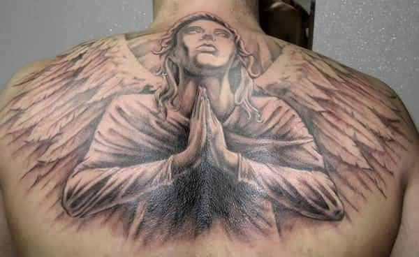 Awesome Upper Baeck Brilliant Praying Angel Tattoo