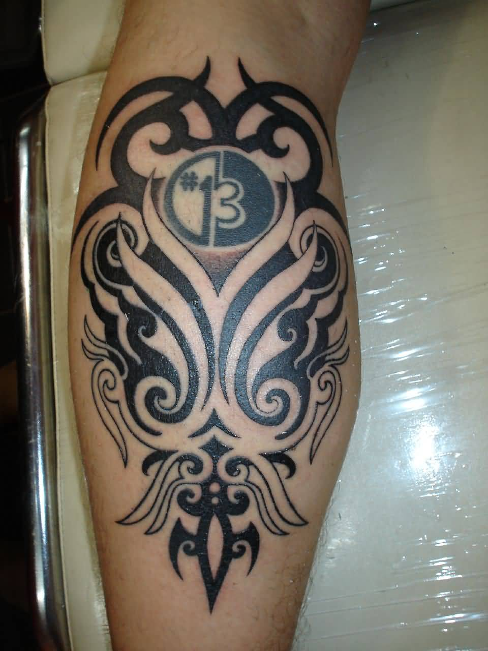 Aztec Back Leg Simple Thirteen Number Tattoo
