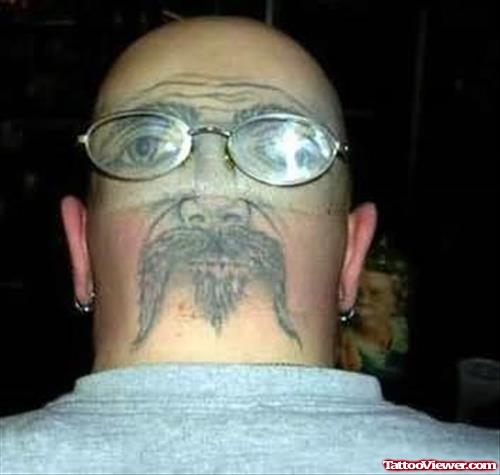 Back Head Extreme Face Tattoo For Men
