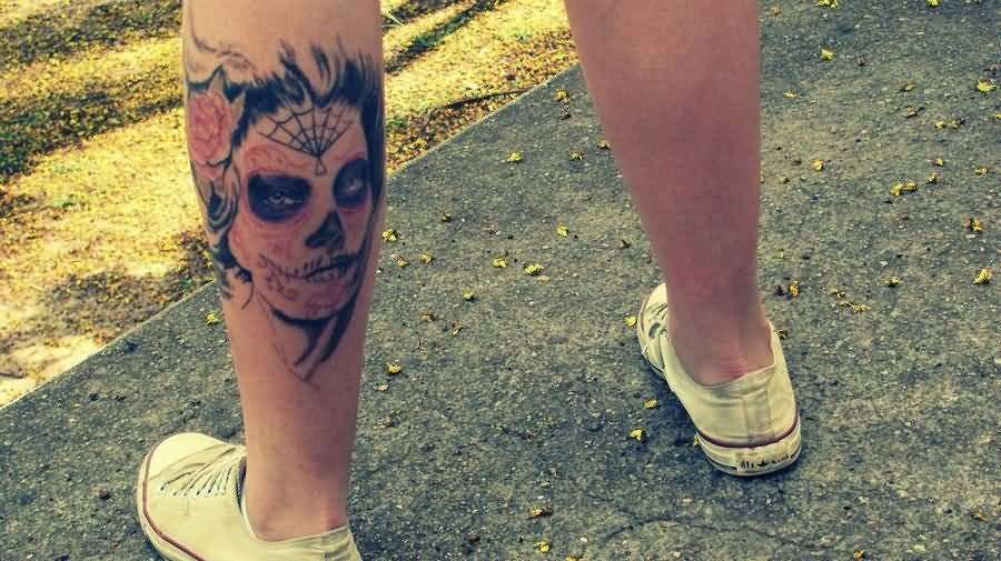 Back Leg Amazing And Simple Catrina Tattoo