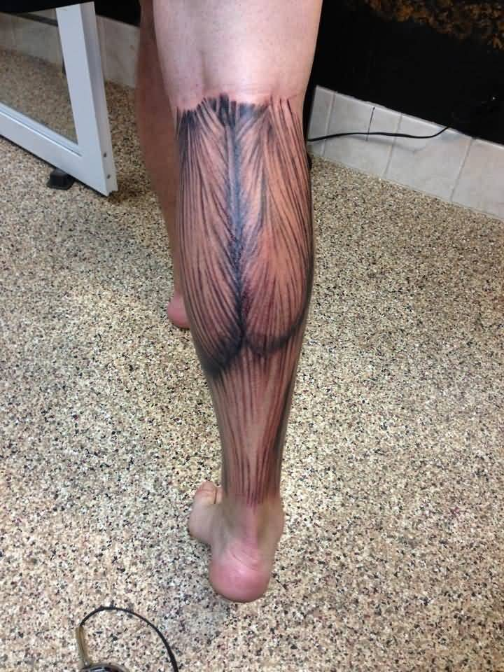 Back Leg Amazing Muscles Tattoo Design Idea