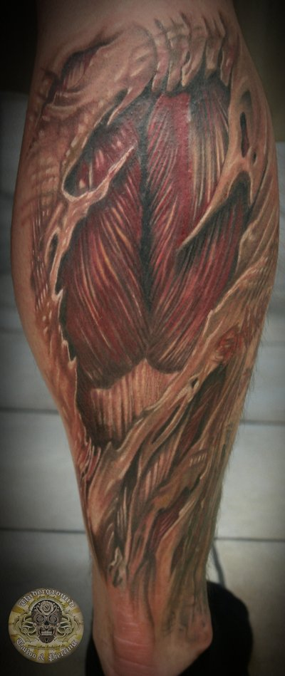 Back Leg Nice And Amazing Muscles Tattoo