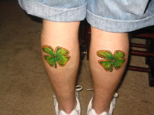 Back Leg Nice And Amazing Shamrock four Leaf Tattoo