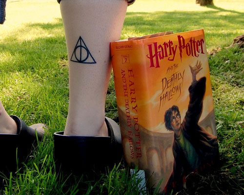 Back Leg Nice Deathly Hallows Tattoo