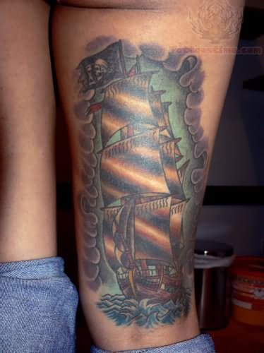 Back Leg With Simple Jolly Roger Pirate Ship Tattoo