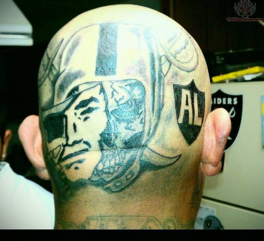Back Side Simple Oakland Raiders Tattoo Design
