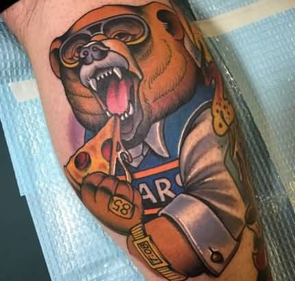 Bear Eat Yummy Pizza Tattoo