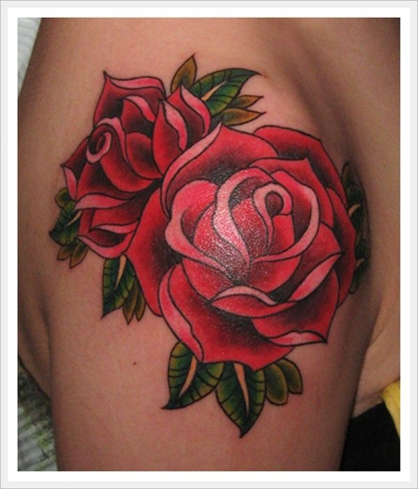 Beautiful And Nice Look Real Old School Flower Tattoo