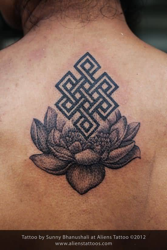 Beautiful Lotus Flower Endless Knot Tattoo