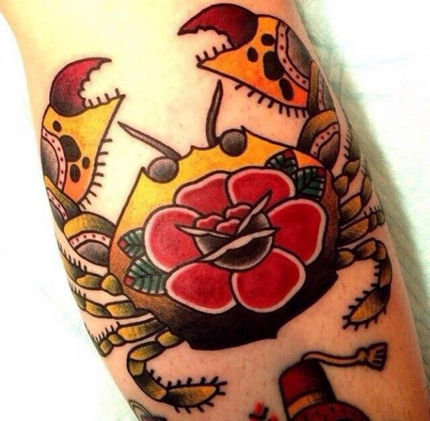 Beautiful Old School Simple Flower In Cancer Crab Tattoo