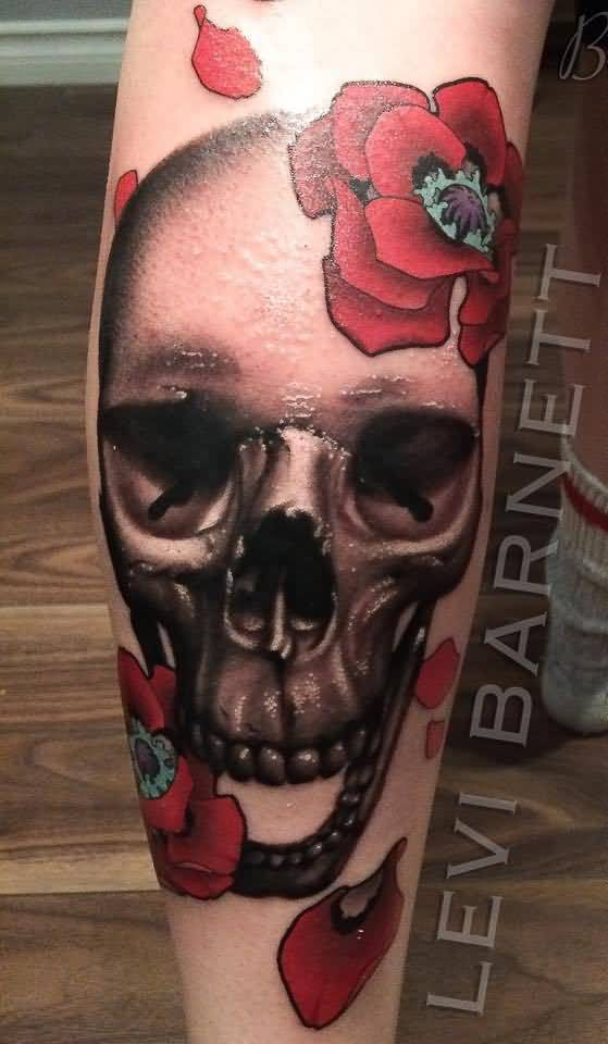 Beautiful Red Roses And Nice Skull Tattoo Design By Levi Barnett