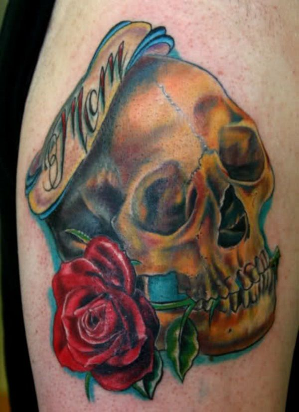 Beautiful Rose Flower With Skull Mom Banner Tattoo