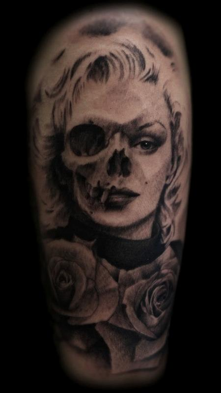 Beautiful Rose Flowers With Skull Marilyn Monroe Tattoo