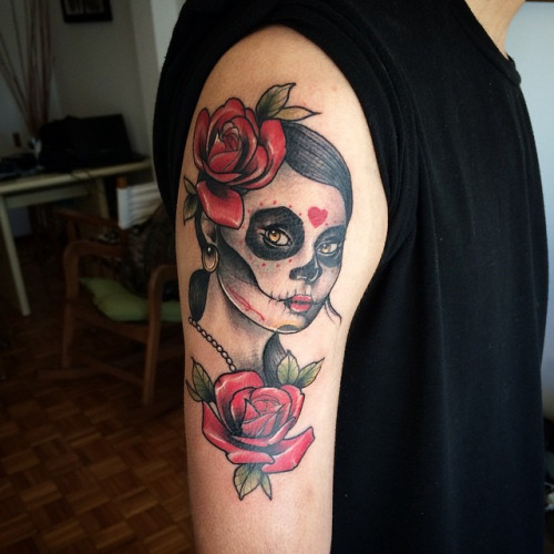 Beautiful Roses With Nice Catrina Face Tattoo On Men Half Sleeve