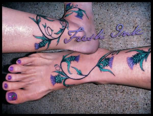 Beautiful Scottish Thistle Flower Tattoo Design On Girl Foot