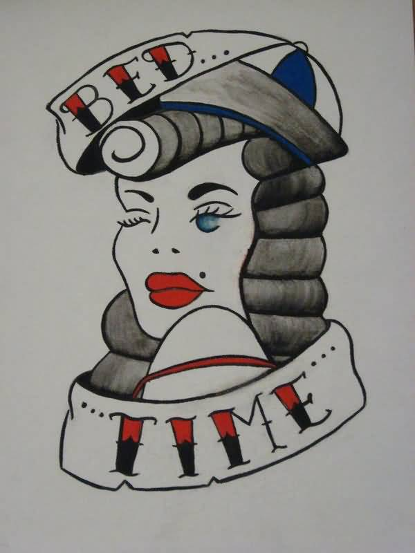 Bed Time Banner Pin Up Girl Face Tattoo