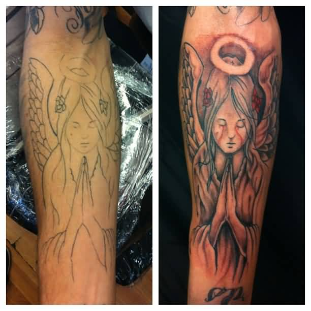 Before And After Bledding Eyes Praying Angel Tattoo