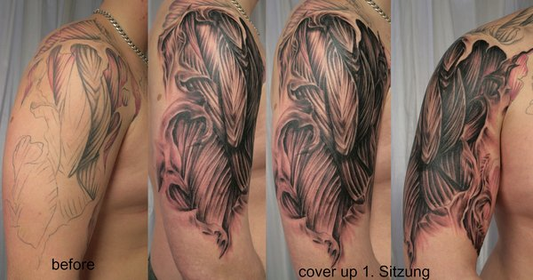 Before And After Muscles Tattoo On Ripped Shoulder