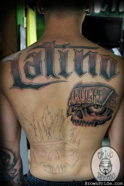 Before And After Nice skull And Latino Word Tattoo Design On Men Back