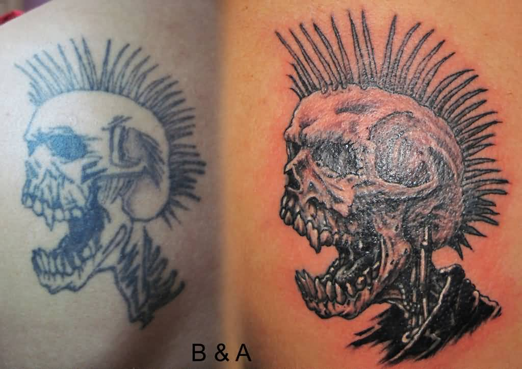 Before And After Punk Skull Tattoo
