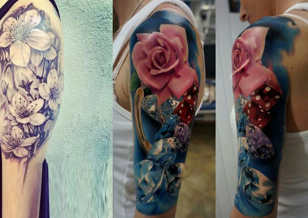 Before And After Scarification Flower Tattoo Idea On Upper Back